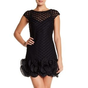 NWOT Black Lace Dress with Ruffle Hem. Sz 8